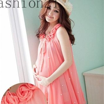 Rose Collar Sleeves Women Chiffon Maternity Dress For New Mommy = 1945710596