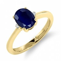 1.81 Ct Oval Blue and White Sapphire 18K Yellow Gold Ring @ Jewelry Wonder