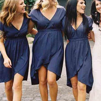 Don's Bridal 2016 Navy Blue Bridesmaid Dresses A Line V Neck Short Sleeves Vestido De Festa Knee Length Chiffon Formal Gowns