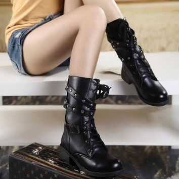 Women Vintage Style Solid Lace-up Spike Buckle Chuncky Heel Motor Boots = 1946903556