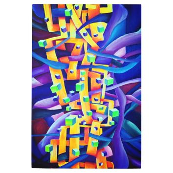Abstract cubes purple metal print