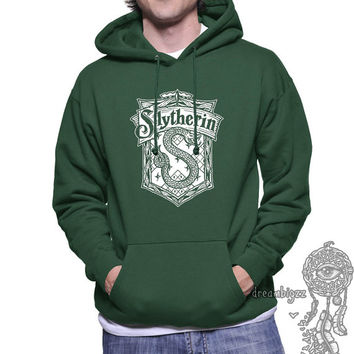Slytherin Crest #2 White Color printed on Forest Green, Black, or Maroon Hoodie