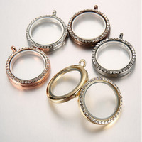 Free Shipping 30mm Round Magnetic Crystal Pendant Silver/Gold Floating Locket Memory Living Glass Locket Necklace free chain