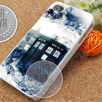 Tardis Doctor Who Smoke - iPhone 4/4s/5/5S/5C Case - Samsung Galaxy S2/S3/S4 Case - Black or White