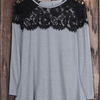 Cupshe Simply Sweet Lace Splicing Top