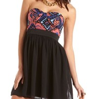 Aztec Print 2-Fer Tube Dress: Charlotte Russe