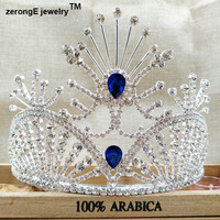 "zerongE jewelry 4.1"" pageant peacock rhinestone crown tiara for women party/enent/holiday gift royal blue miss world crown tiara"