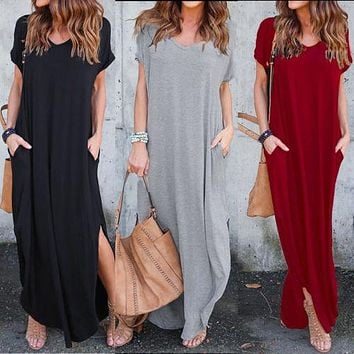 Women Clothing Simple Style Solid O-Neck Loose Casual Boho Slit Dresses Short Sleeve Beach Long Maxi Dress