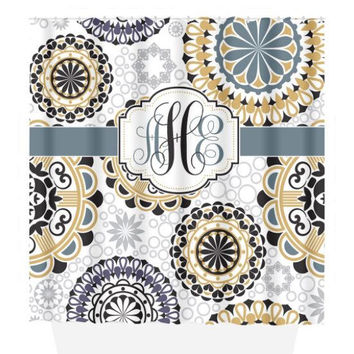 Mandala SHOWER CURTAIN, Medallion Circles, Custom MONOGRAM Personalized Bathroom Decor Pattern Bathroom Beach Towel Plush Bath Mat