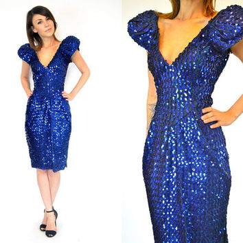 midnight blue FUTURISTIC avant garde SEQUIN PARTY cocktail dress w/ plunging deep v-neckline, small-medium