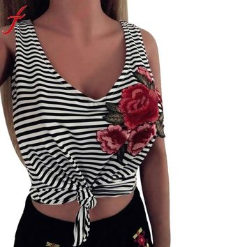 Fashion Rose Appliques Tank Tops Women Sexy Striped V-Neck Sleeveless Tanks & Camis Fitness Casual Tank Tops Ladies Camis