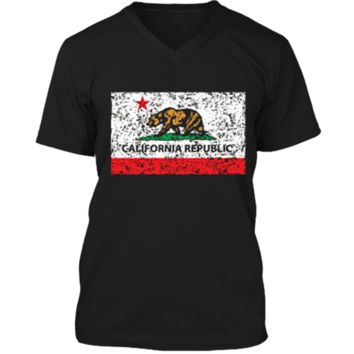 California Republic Cali Flag T-Shirt Socal Norcal Cencal T Mens Printed V-Neck T