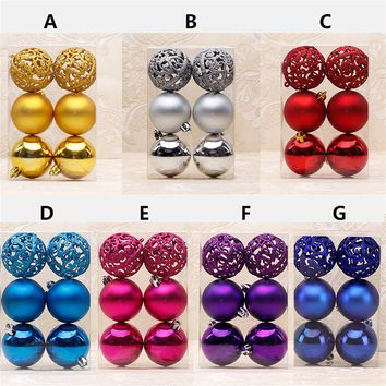 2019 6cm Christmas Tree Decorative Ball Ornaments Pendant 6pcs/pack Silver Hollow Out Xmas Ball Decor Baubles for Christmas Home