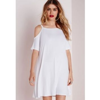 Cold Shoulder Swing Dress White - Dresses - Swing Dresses - Missguided