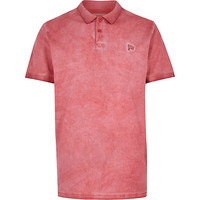 River Island MensRed washed short sleeve polo shirt