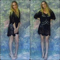 Stunning black lace crochet dress / cotton mini openwork embroidery sheer boho hippie top /Stevie Nicks /gothic grunge goddess