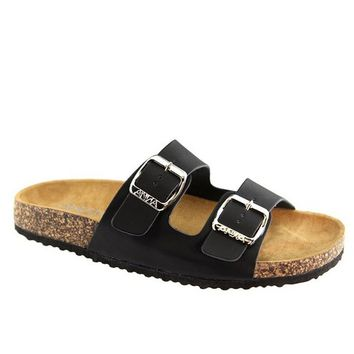What's The Hold Up Buckle Slip On Sandals ~ Black