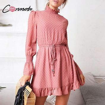 Conmoto Long Sleeve Black Chiffon Dress 2018 Fall Vintage Ruffle Pink Beach Mini Dress Elegant Casual Mesh Dress Vestidos