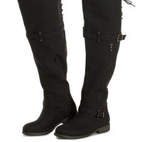 Black WIDE FIT Flat Over-the-Knee Boots by Charlotte Russe