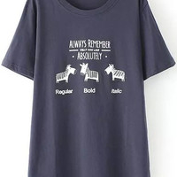 Navy Short Sleeve Bead Horse Print Graphic T-Shirt