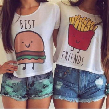 Ladybro Cartoon Hamburg or Frech Fries Printing T-shirt Women Girl Best Friend Casual Blouse Tops = 5987521217