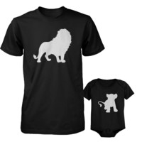 Funny Lion and Cub Matching Dad Shirt and Baby Onesuit