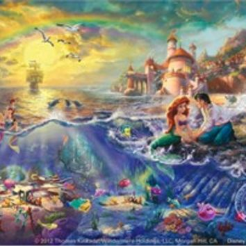 "Thomas Kinkade Signed and Numbered Limited Edition Fine Art Print and Hand-Embellished with Painted Accents Giclee Canvas :""Disney's Little Mermaid"""