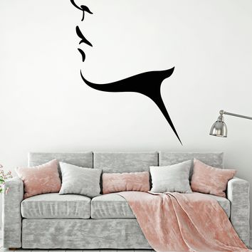 Vinyl Wall Decal Beautiful Woman Girl Face Lips Neck Stickers (2155ig)