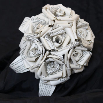 Harry Potter Bridal Paper Rose Book Bouquet by Helmore Boutique, Bibliophile, geek chic, unique wedding accessory, literary book flowers