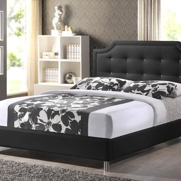 Baxton Studio Carlotta Black Modern Bed with Upholstered Headboard - King Size Set of 1