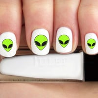 Cartoon Alien Head Nail Decals-24 ct.