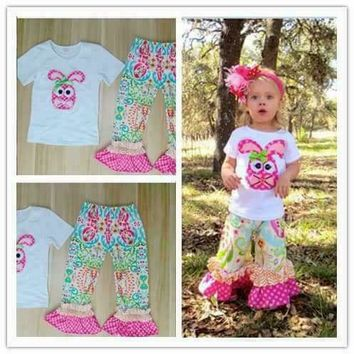 Hot Sale Girls Clothing Set Pink Bunny Pattern Embroidery Short Sleeve T-shirt Print Pant For Easter Kids Outfits Clothes E017