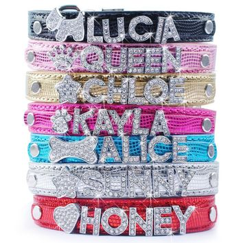Personalized Dog Collars Pet Puppy Customized Rhinestone Name Charms Necalace XS S M L 7 Colors