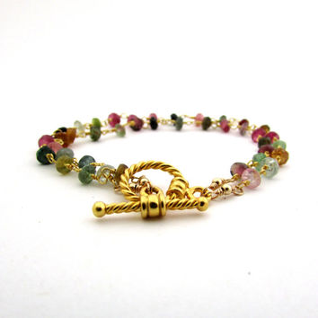 Tourmaline bracelet, October birthstone jewelry, gold double strand bracelet, multicolor gemstone bracelet, watermelon tourmaline jewelry