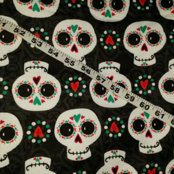Flannel fabric with skulls hearts cotton print quilt sewing material sew crafting project decor clothes by the yard BTY 1 yard