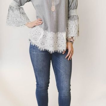Striped Lace Detail Top - Gray