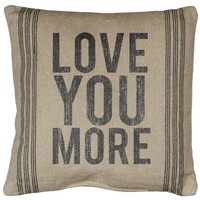 Love You More - Jumbo Canvas Throw / Accent Cushion Pillow - 20-in