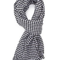 FOREVER 21 Houndstooth Print Scarf Black/White One