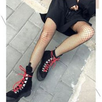 Hot Fashion Women Fishnet Fish Net Whale Net Socks Tights Above Ankle Black