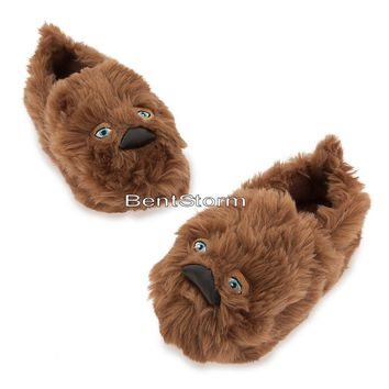 Licensed cool STAR WARS CHEWBACCA CHEWIE WOOKIE Plush KIDS SLIPPERS HOUSE Shoes Disney Store
