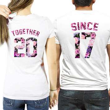 Together Since custom number shirts, Couple shirts, Couple shirts together since and your year, flower together since shirts by SugarARMY