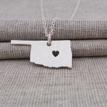 Silver Oklahoma State Necklace,OK State Charm Pendant ,State Shaped Necklace,Personalized Oklahoma State Necklace With A Heart