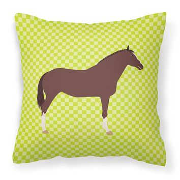 English Thoroughbred Horse Green Fabric Decorative Pillow BB7739PW1414