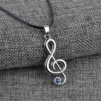 Jewelry Hatsune Miku Character Treble G Clef Music Note Pendant Necklace Chain For Men Women