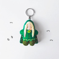 Elf keychain plush, fantasy wood elf figurine, rpg character keyring, gift idea for role players, cute geek gift idea