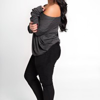 Curvy Get It Right Basic Tunic (Charcoal)
