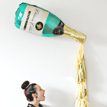 New Years Eve Champagne Bottle Tassel Balloon, New Years Eve Decor, Photo Booth Prop, Gold and Champagne Backdrop, Pop Clink Fizz