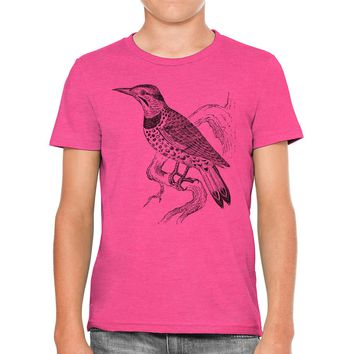 Austin Ink Apparel Vintage Flicker Bird Drawing Unisex Kids Vintage Printed T-Shirt