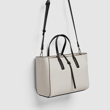 MINI TOTE BAG WITH CONTRASTING HANDLES DETAILS
