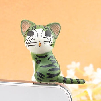 3D Green Chi's Cat Mobile Phone Earcap Earphone Stopper Anti Jack Dust Plug For Iphone And All 3.5mm Earphone Dust Plug